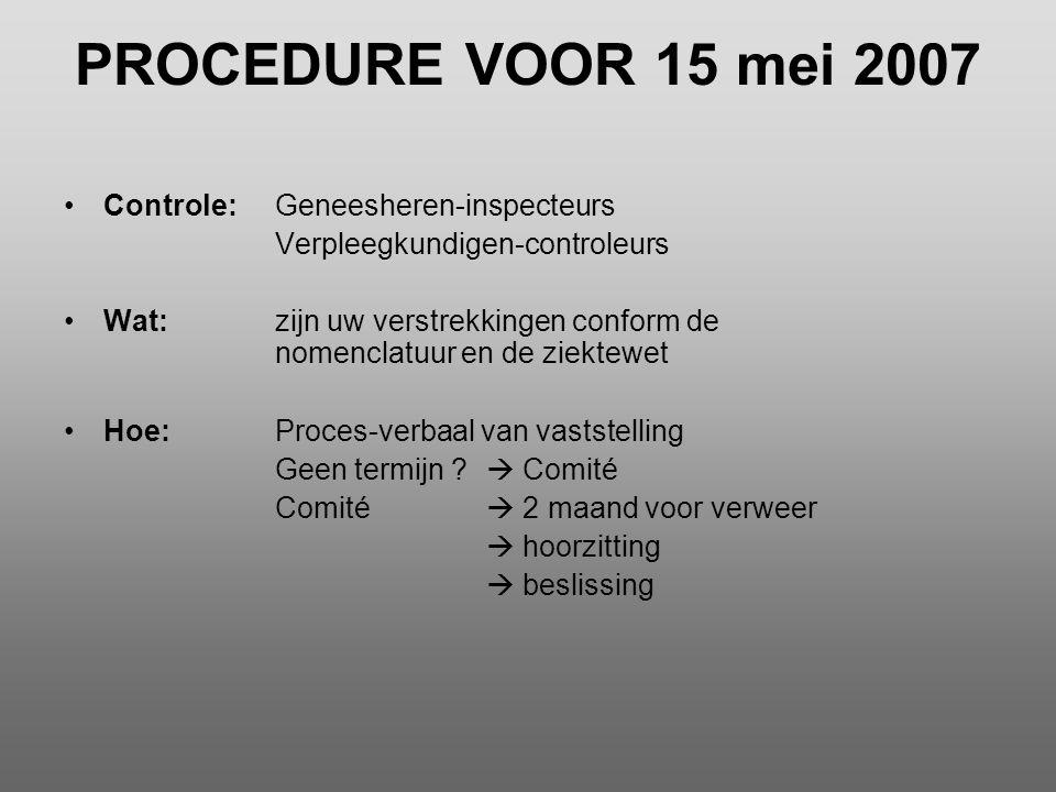 PROCEDURE VOOR 15 mei 2007 •Controle:Geneesheren-inspecteurs Verpleegkundigen-controleurs •Wat:zijn uw verstrekkingen conform de nomenclatuur en de zi