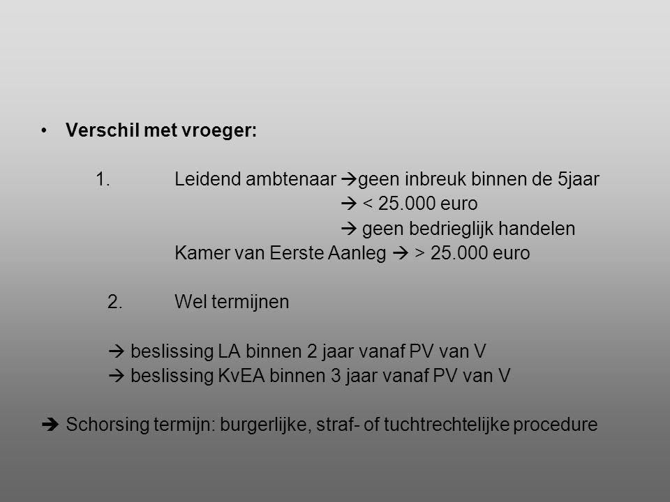 •Verschil met vroeger: 1.Leidend ambtenaar  geen inbreuk binnen de 5jaar  < 25.000 euro  geen bedrieglijk handelen Kamer van Eerste Aanleg  > 25.0