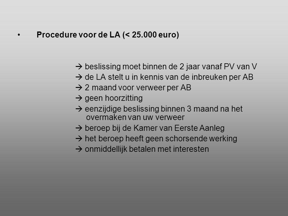 •Procedure voor de LA (< 25.000 euro)  beslissing moet binnen de 2 jaar vanaf PV van V  de LA stelt u in kennis van de inbreuken per AB  2 maand vo