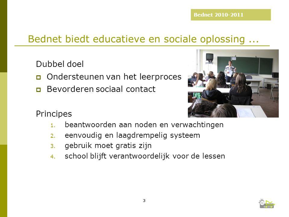 Bednet 2010-2011 2003-2008: 5 jaar Bednet Dubbel doel  Ondersteunen van het leerproces  Bevorderen sociaal contact Principes 1.