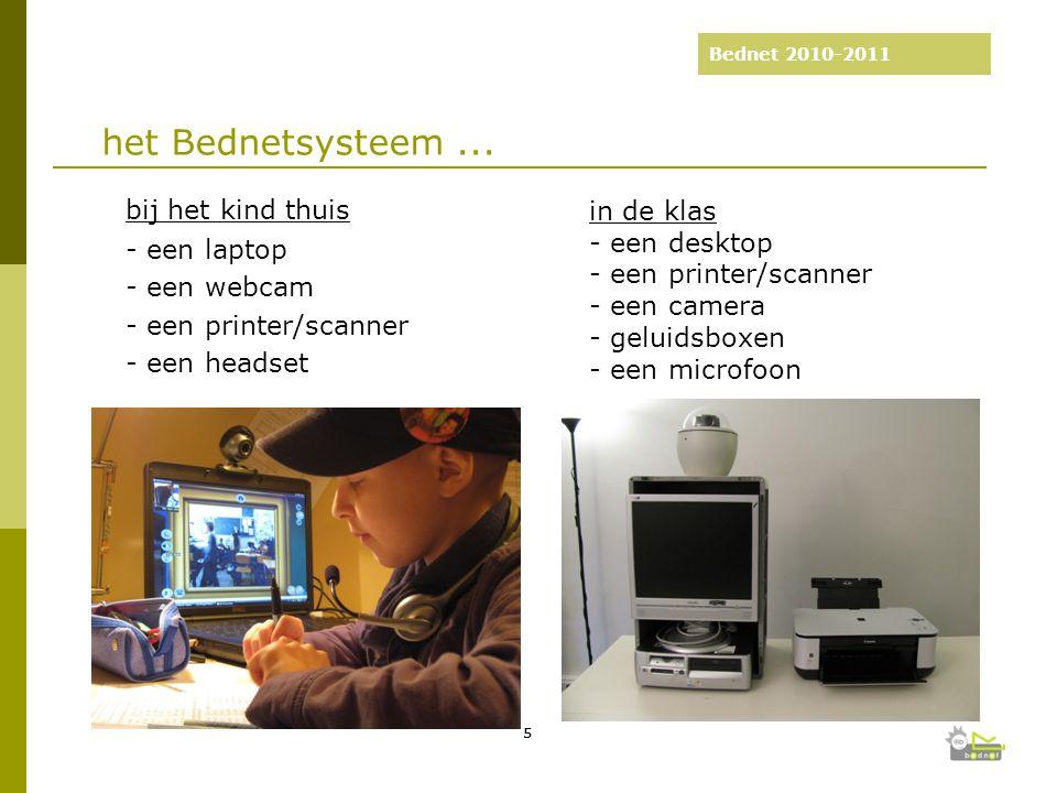 Bednet 2010-2011 bij het kind thuis - een laptop - een webcam - een printer/scanner - een headset 2003-2008: 5 jaar Bednet 55 het Bednetsysteem...