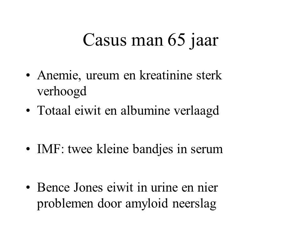 Casus man 65 jaar •Anemie, ureum en kreatinine sterk verhoogd •Totaal eiwit en albumine verlaagd •IMF: twee kleine bandjes in serum •Bence Jones eiwit