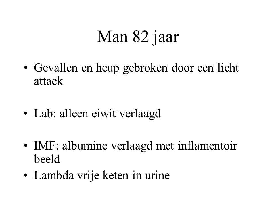 Man 82 jaar •Gevallen en heup gebroken door een licht attack •Lab: alleen eiwit verlaagd •IMF: albumine verlaagd met inflamentoir beeld •Lambda vrije