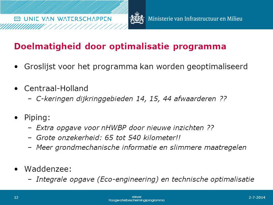 12 nieuw Hoogwaterbeschermingsprogramma Doelmatigheid door optimalisatie programma 2-7-2014 •Groslijst voor het programma kan worden geoptimaliseerd •Centraal-Holland –C-keringen dijkringgebieden 14, 15, 44 afwaarderen ?.