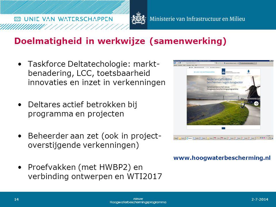 14 nieuw Hoogwaterbeschermingsprogramma Doelmatigheid in werkwijze (samenwerking) •Taskforce Deltatechologie: markt- benadering, LCC, toetsbaarheid in