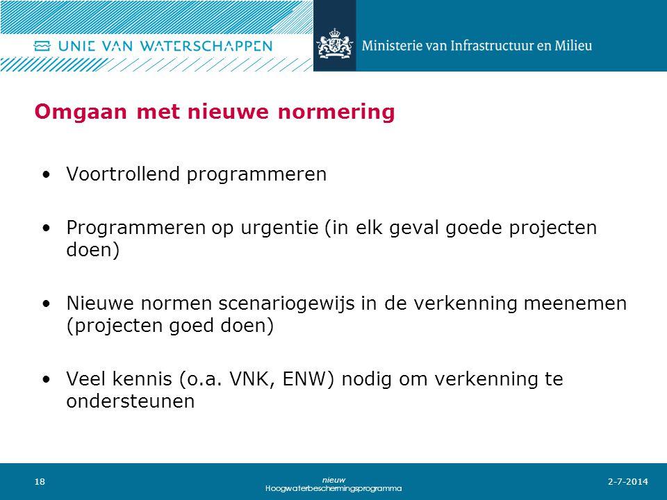 18 nieuw Hoogwaterbeschermingsprogramma Omgaan met nieuwe normering •Voortrollend programmeren •Programmeren op urgentie (in elk geval goede projecten