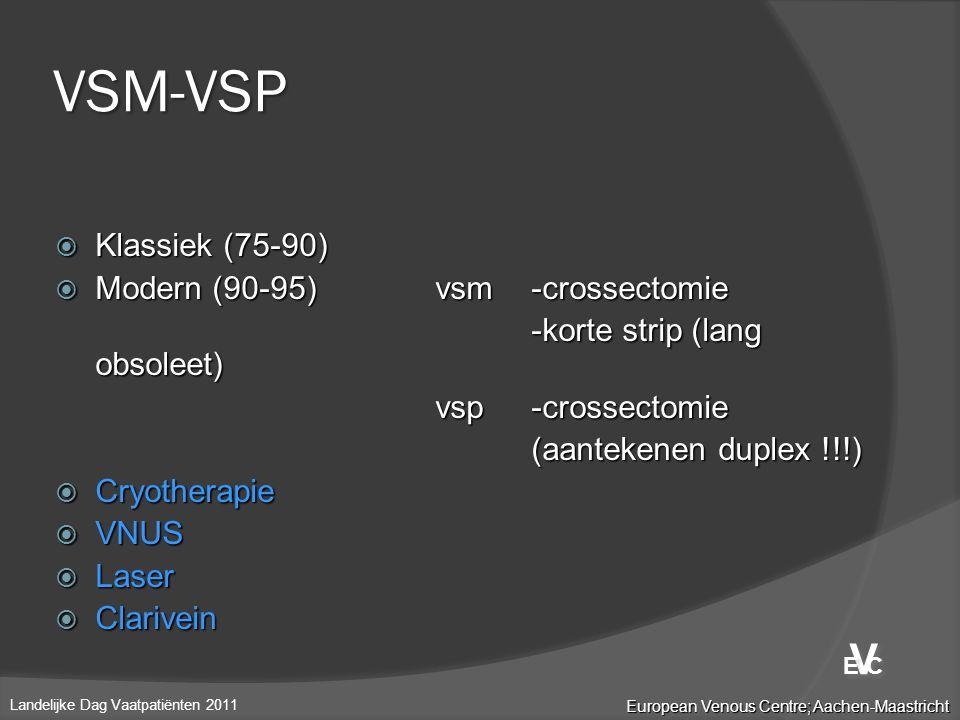  Klassiek (75-90)  Modern (90-95)vsm-crossectomie -korte strip (lang obsoleet) vsp-crossectomie (aantekenen duplex !!!)  Cryotherapie  VNUS  Lase