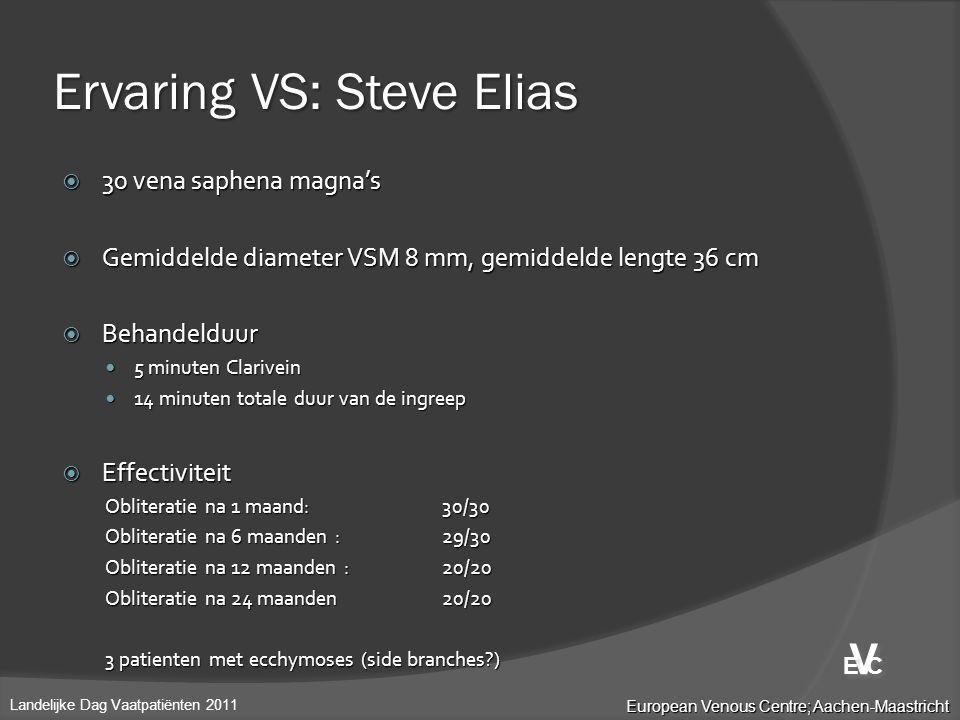 Ervaring VS: Steve Elias  30 vena saphena magna's  Gemiddelde diameter VSM 8 mm, gemiddelde lengte 36 cm  Behandelduur  5 minuten Clarivein  14 m