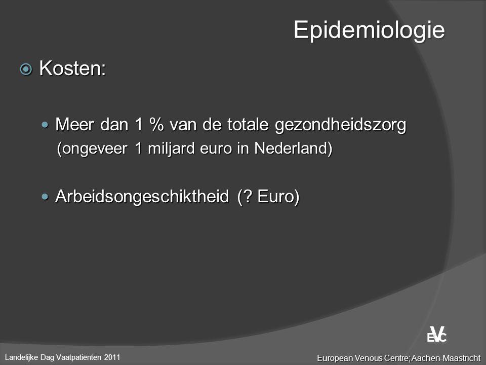  Kosten:  Meer dan 1 % van de totale gezondheidszorg (ongeveer 1 miljard euro in Nederland)  Arbeidsongeschiktheid (? Euro) Epidemiologie European