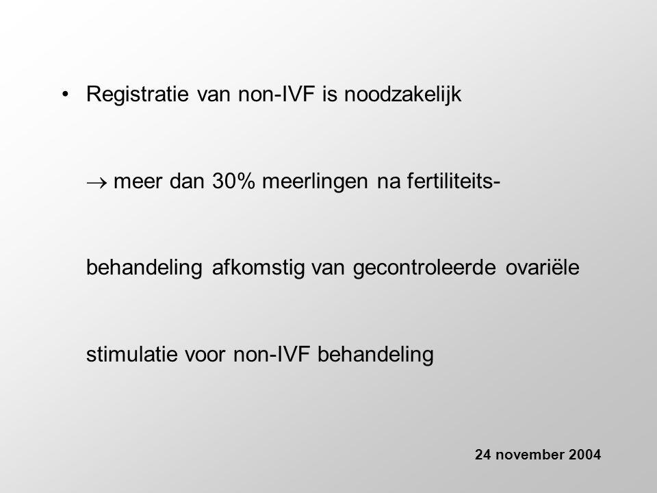 •Registratie van non-IVF is noodzakelijk  meer dan 30% meerlingen na fertiliteits- behandeling afkomstig van gecontroleerde ovariële stimulatie voor