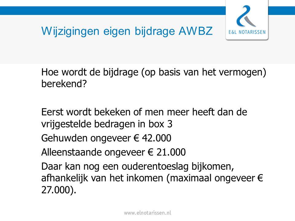Wijzigingen eigen bijdrage AWBZ De vermogensbijtelling geldt als men meer heeft dan het heffingsvrije vermogen Bij het bijdrageplichtig inkomen wordt 8% van het box 3 vermogen opgeteld.