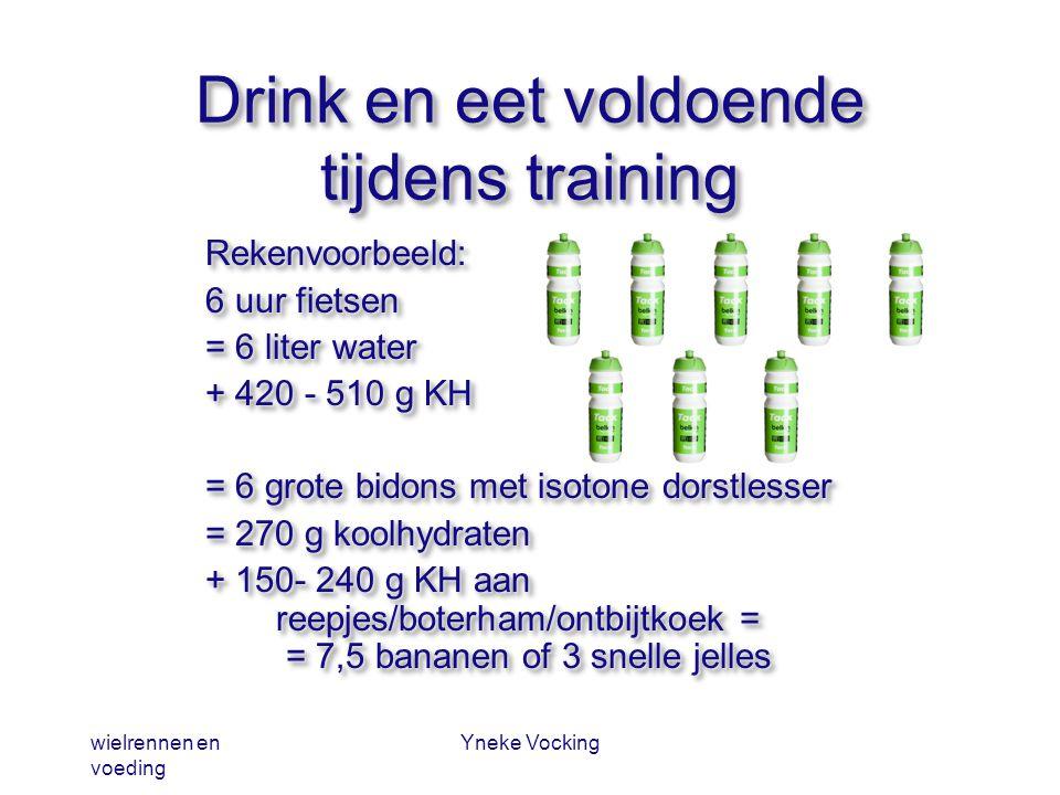 wielrennen en voeding Yneke Vocking Drink en eet voldoende tijdens training Rekenvoorbeeld: 6 uur fietsen = 6 liter water + 420 - 510 g KH = 6 grote b