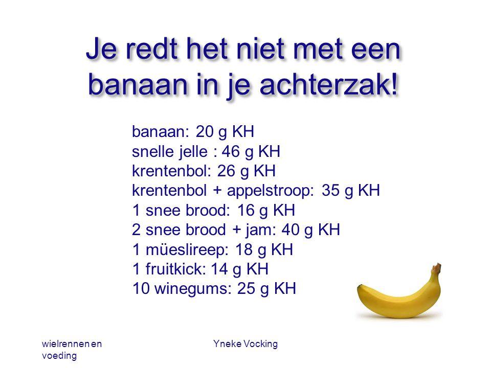 wielrennen en voeding Yneke Vocking Je redt het niet met een banaan in je achterzak! banaan: 20 g KH snelle jelle : 46 g KH krentenbol: 26 g KH krente