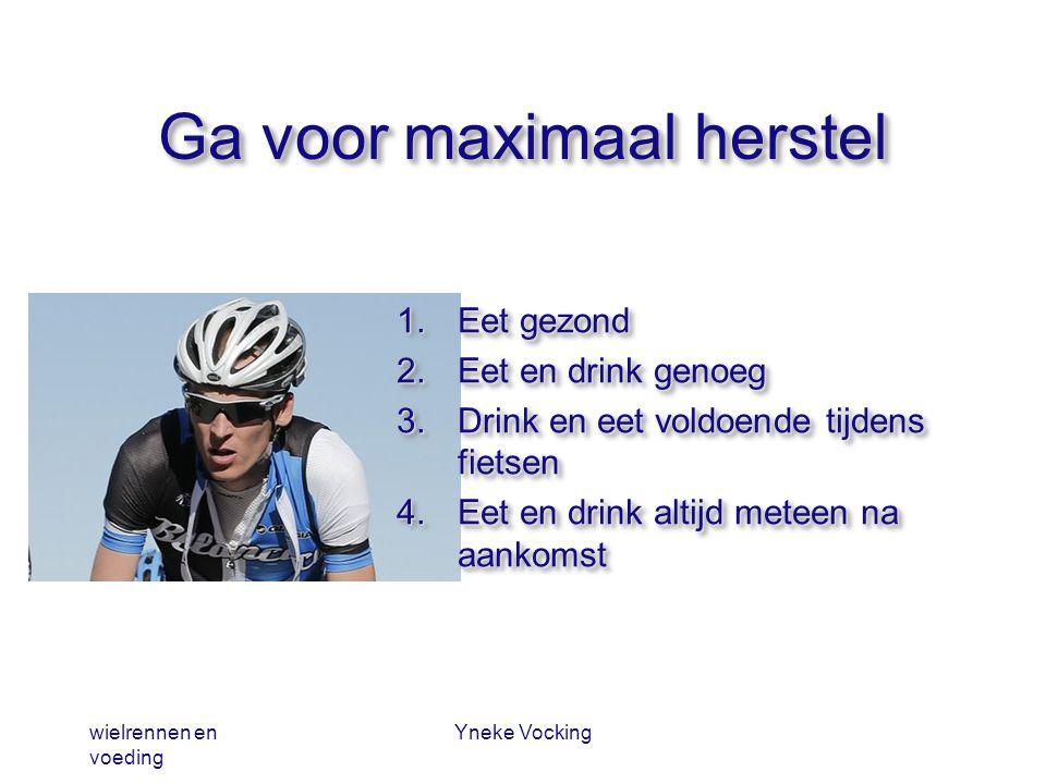 wielrennen en voeding Yneke Vocking Ga voor maximaal herstel 1.Eet gezond 2.Eet en drink genoeg 3.Drink en eet voldoende tijdens fietsen 4.Eet en drin