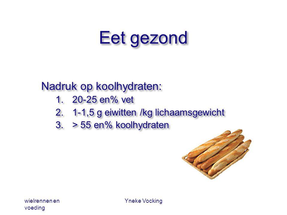 wielrennen en voeding Yneke Vocking Eet gezond Nadruk op koolhydraten: 1.20-25 en% vet 2.1-1,5 g eiwitten /kg lichaamsgewicht 3.> 55 en% koolhydraten