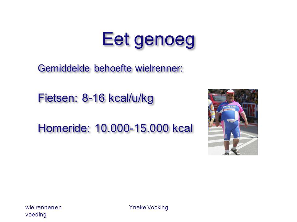 wielrennen en voeding Yneke Vocking Eet genoeg Gemiddelde behoefte wielrenner: Fietsen: 8-16 kcal/u/kg Homeride: 10.000-15.000 kcal Gemiddelde behoeft