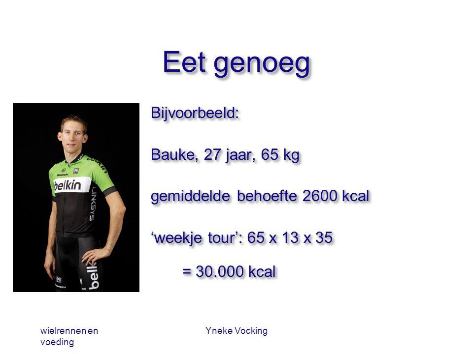 wielrennen en voeding Yneke Vocking Eet genoeg Bijvoorbeeld: Bauke, 27 jaar, 65 kg gemiddelde behoefte 2600 kcal 'weekje tour': 65 x 13 x 35 = 30.000