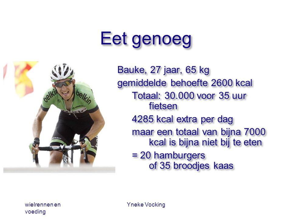 wielrennen en voeding Yneke Vocking Eet genoeg Bauke, 27 jaar, 65 kg gemiddelde behoefte 2600 kcal Totaal: 30.000 voor 35 uur fietsen 4285 kcal extra