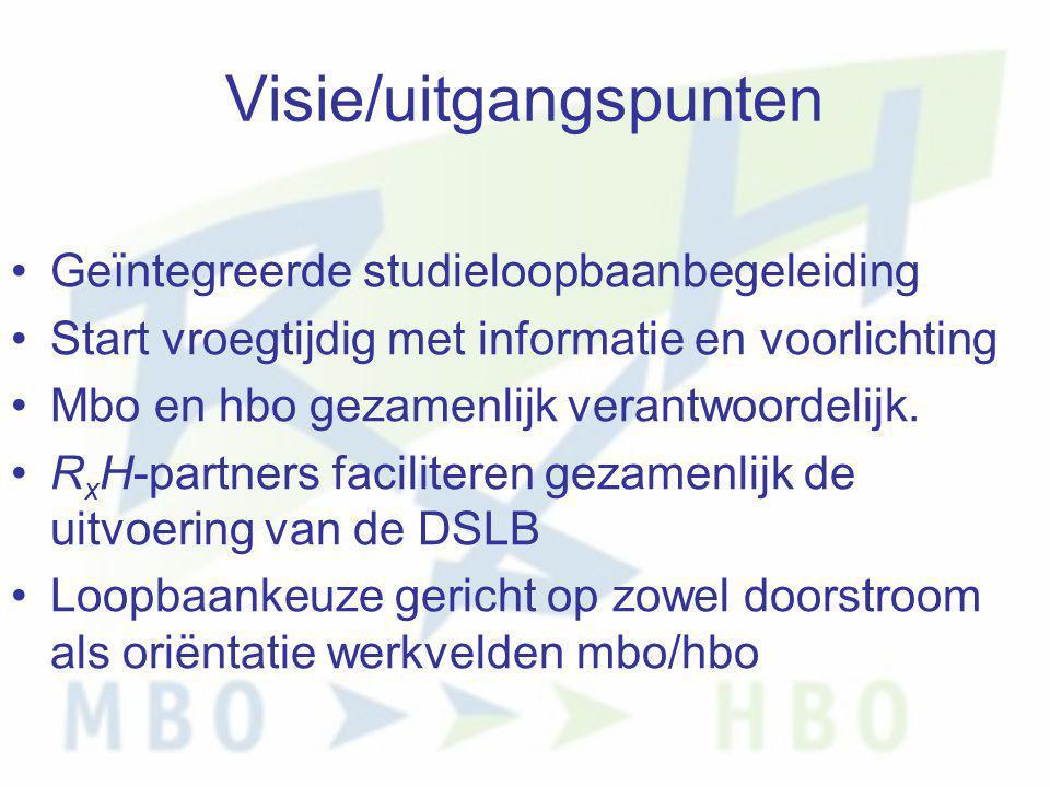 Visie/uitgangspunten •Geïntegreerde studieloopbaanbegeleiding •Start vroegtijdig met informatie en voorlichting •Mbo en hbo gezamenlijk verantwoordeli