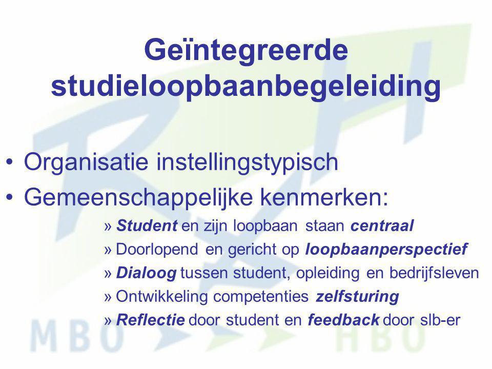 Geïntegreerde studieloopbaanbegeleiding •Organisatie instellingstypisch •Gemeenschappelijke kenmerken: »Student en zijn loopbaan staan centraal »Doorl