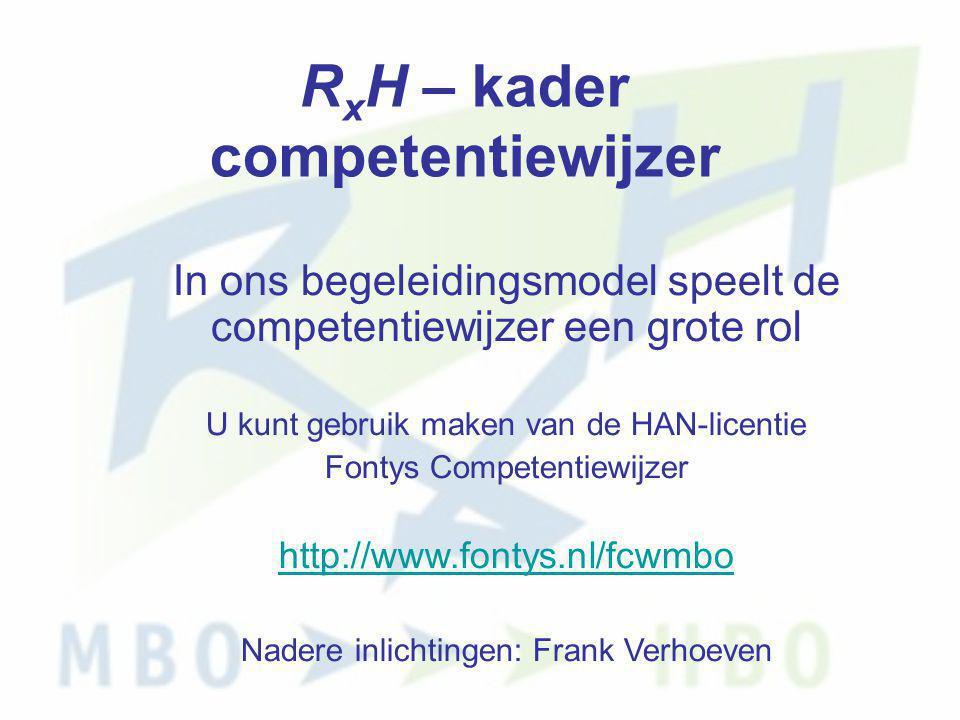 R x H – kader competentiewijzer In ons begeleidingsmodel speelt de competentiewijzer een grote rol U kunt gebruik maken van de HAN-licentie Fontys Com