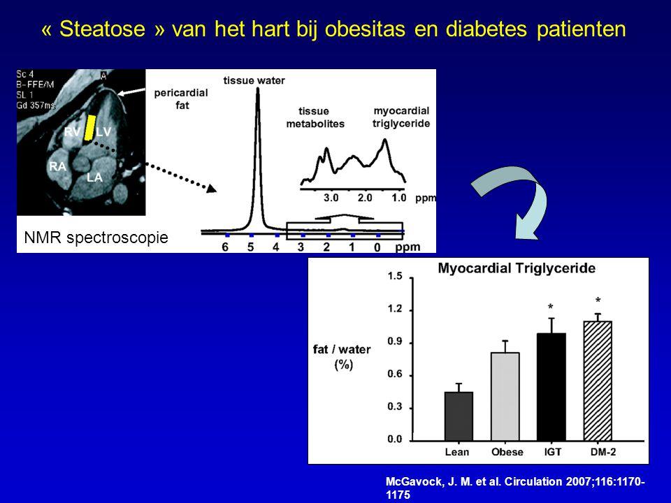 McGavock, J. M. et al. Circulation 2007;116:1170- 1175 « Steatose » van het hart bij obesitas en diabetes patienten NMR spectroscopie