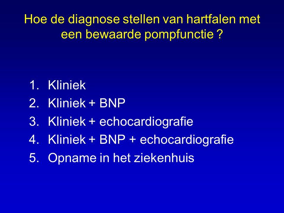 Hoe de diagnose stellen van hartfalen met een bewaarde pompfunctie ? 1.Kliniek 2.Kliniek + BNP 3.Kliniek + echocardiografie 4.Kliniek + BNP + echocard