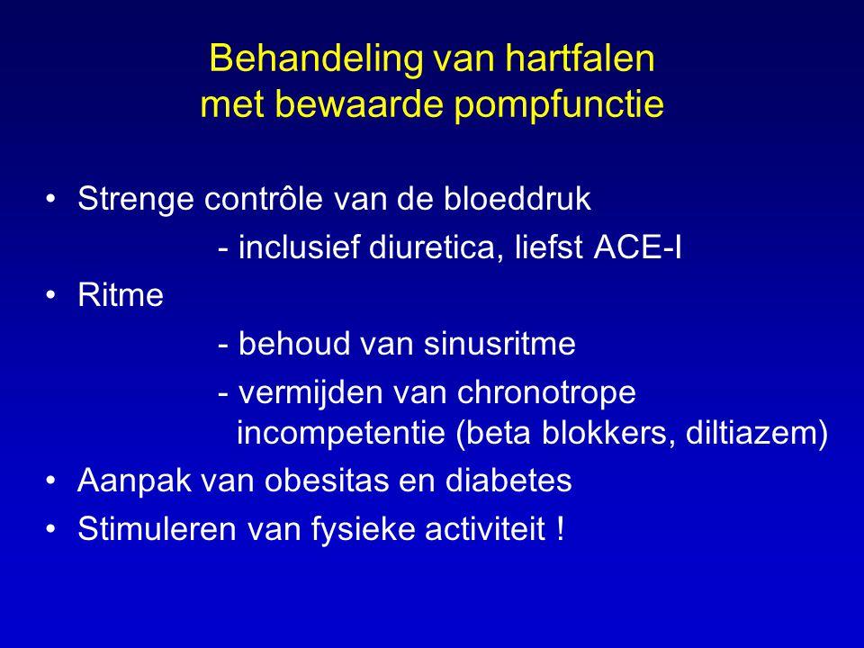 Behandeling van hartfalen met bewaarde pompfunctie •Strenge contrôle van de bloeddruk - inclusief diuretica, liefst ACE-I •Ritme - behoud van sinusrit