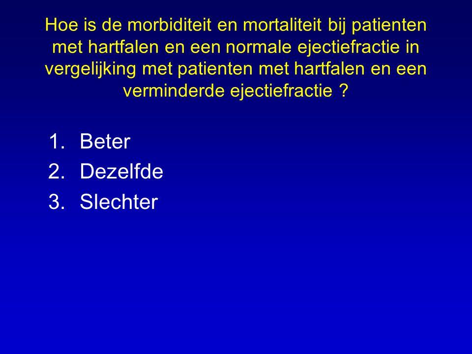 Hoe is de morbiditeit en mortaliteit bij patienten met hartfalen en een normale ejectiefractie in vergelijking met patienten met hartfalen en een verminderde ejectiefractie .