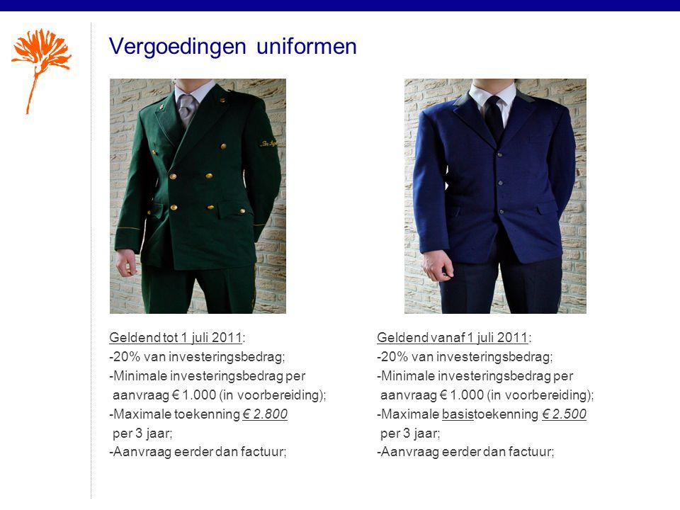 Vergoedingen uniformen Geldend tot 1 juli 2011: -20% van investeringsbedrag; -Minimale investeringsbedrag per aanvraag € 1.000 (in voorbereiding); -Ma
