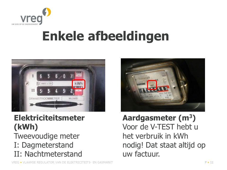 Enkele afbeeldingen VREG • VLAAMSE REGULATOR VAN DE ELEKTRICITEITS- EN GASMARKTP • 11 Elektriciteitsmeter (kWh) Tweevoudige meter I: Dagmeterstand II: Nachtmeterstand Aardgasmeter (m 3 ) Voor de V-TEST hebt u het verbruik in kWh nodig.