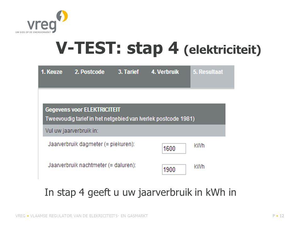 V-TEST: stap 4 (elektriciteit) VREG • VLAAMSE REGULATOR VAN DE ELEKRICITEITS- EN GASMARKTP • 12 In stap 4 geeft u uw jaarverbruik in kWh in