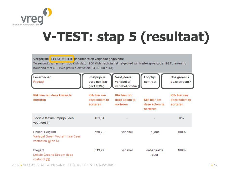 V-TEST: stap 5 (resultaat) VREG • VLAAMSE REGULATOR VAN DE ELEKTRICITEITS- EN GASMARKTP • 19