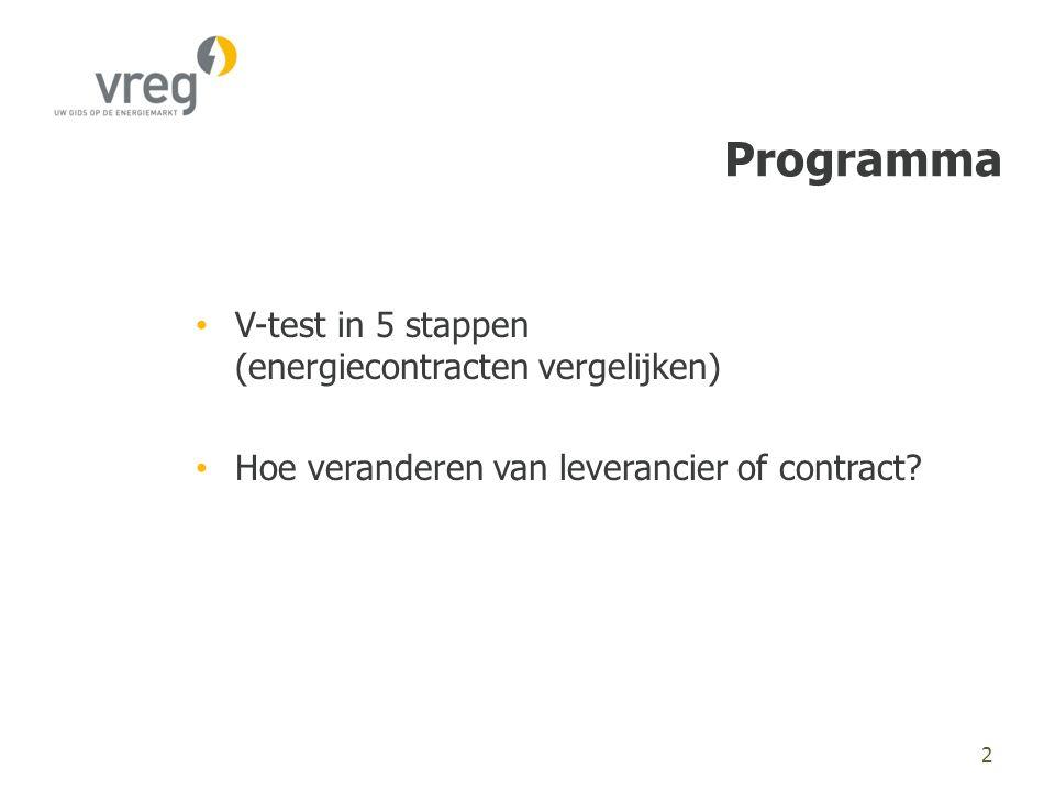 Programma • V-test in 5 stappen (energiecontracten vergelijken) • Hoe veranderen van leverancier of contract.