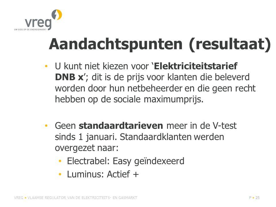 Aandachtspunten (resultaat) • U kunt niet kiezen voor 'Elektriciteitstarief DNB x'; dit is de prijs voor klanten die beleverd worden door hun netbeheerder en die geen recht hebben op de sociale maximumprijs.