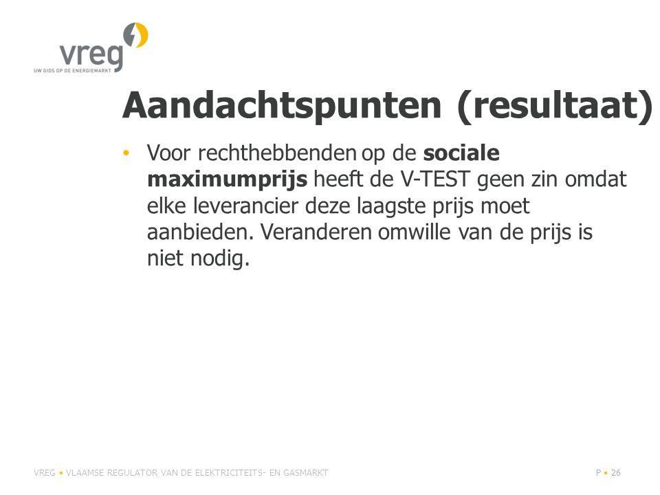 Aandachtspunten (resultaat) • Voor rechthebbenden op de sociale maximumprijs heeft de V-TEST geen zin omdat elke leverancier deze laagste prijs moet aanbieden.