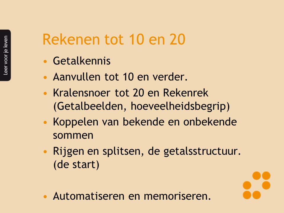 Rekenen tot 10 en 20 •Getalkennis •Aanvullen tot 10 en verder. •Kralensnoer tot 20 en Rekenrek (Getalbeelden, hoeveelheidsbegrip) •Koppelen van bekend
