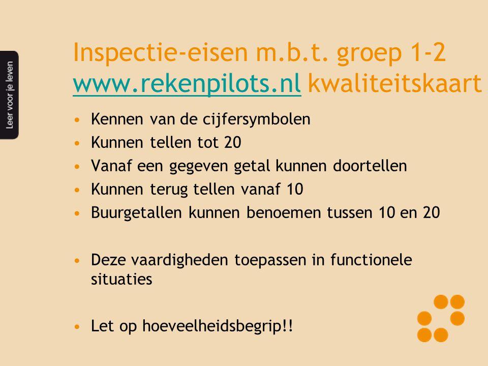 Inspectie-eisen m.b.t. groep 1-2 www.rekenpilots.nl kwaliteitskaart www.rekenpilots.nl •Kennen van de cijfersymbolen •Kunnen tellen tot 20 •Vanaf een