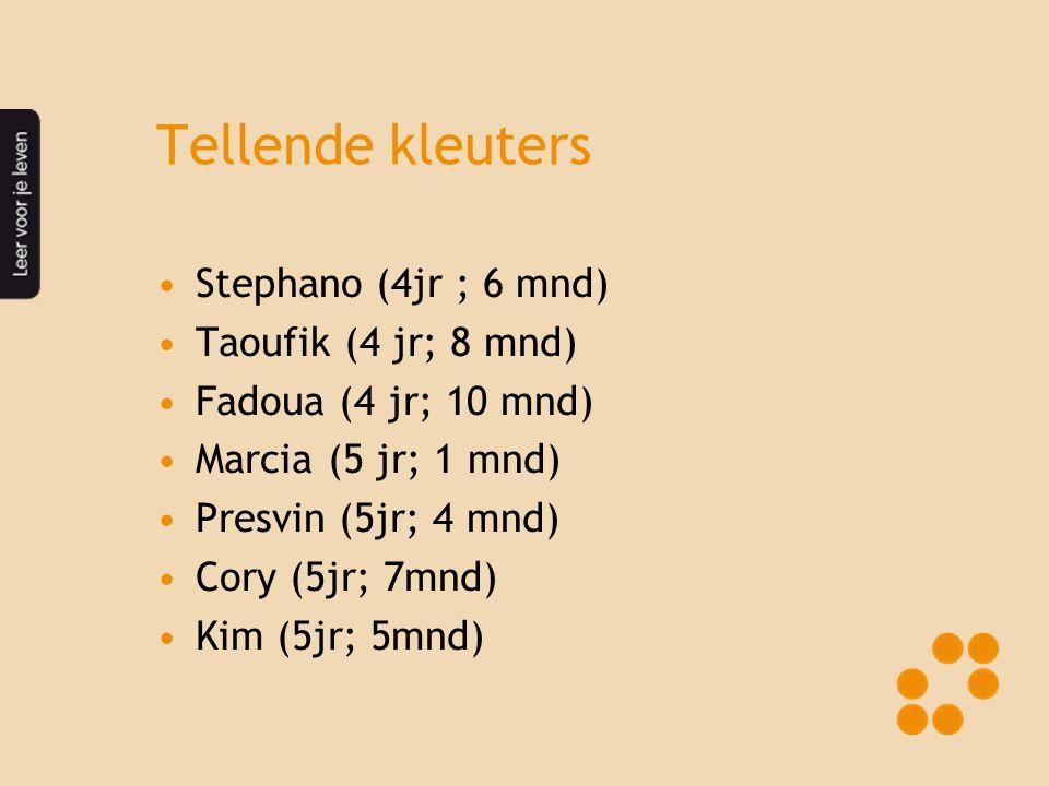 Tellende kleuters •Stephano (4jr ; 6 mnd) •Taoufik (4 jr; 8 mnd) •Fadoua (4 jr; 10 mnd) •Marcia (5 jr; 1 mnd) •Presvin (5jr; 4 mnd) •Cory (5jr; 7mnd)