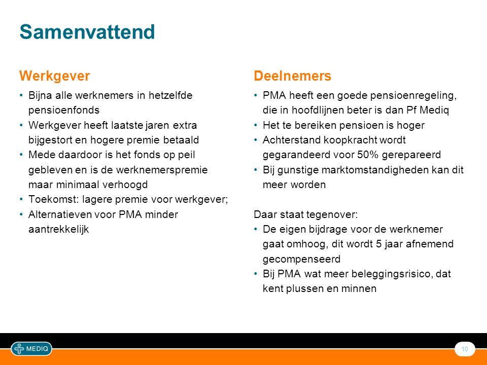 10 Samenvattend Deelnemers •PMA heeft een goede pensioenregeling, die in hoofdlijnen beter is dan Pf Mediq •Het te bereiken pensioen is hoger •Achters