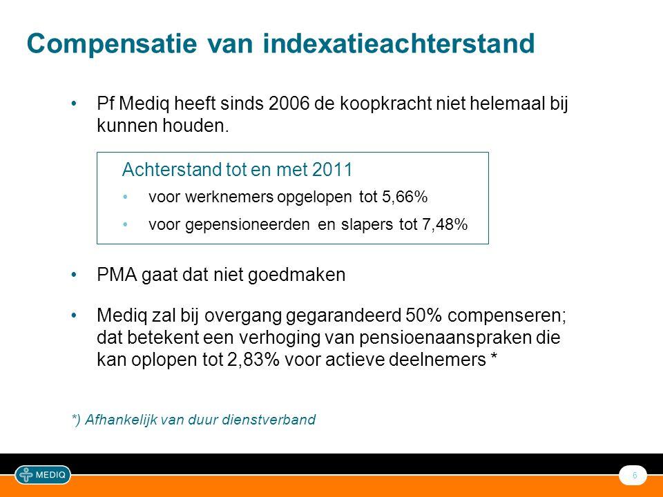 6 Compensatie van indexatieachterstand •Pf Mediq heeft sinds 2006 de koopkracht niet helemaal bij kunnen houden. Achterstand tot en met 2011 •voor wer