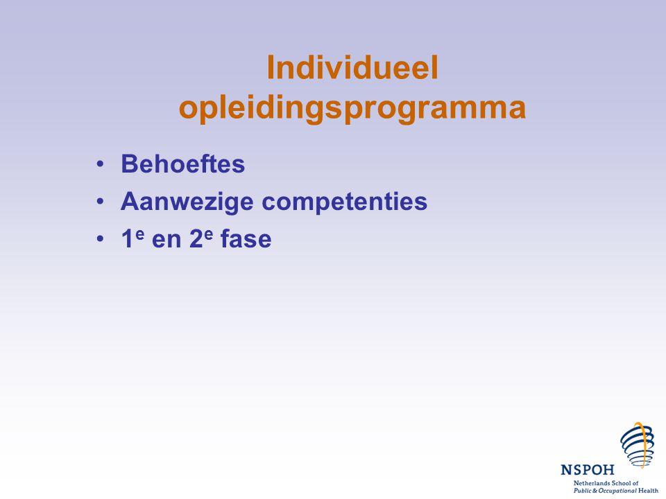 Individueel opleidingsprogramma •Behoeftes •Aanwezige competenties •1 e en 2 e fase