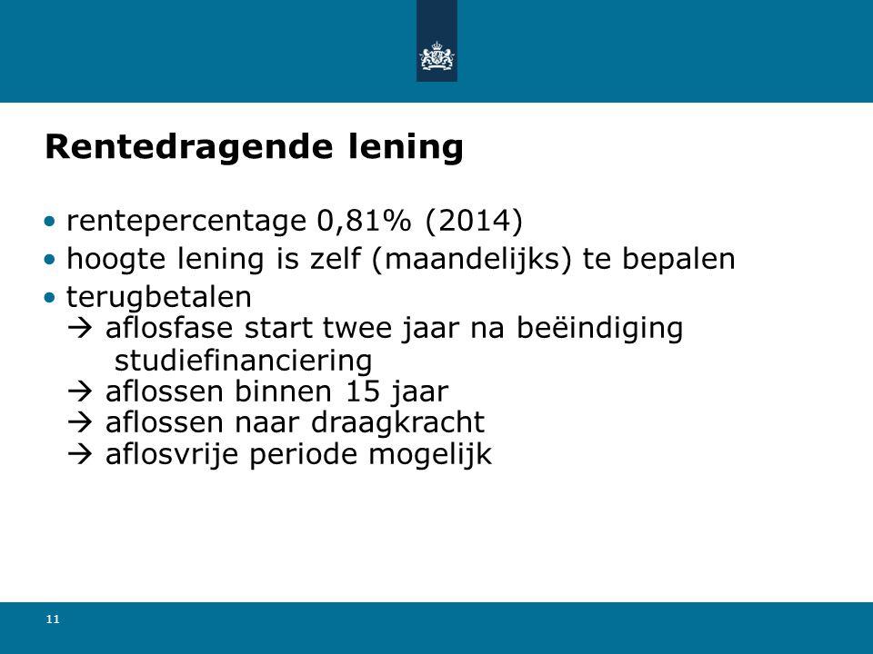 11 Rentedragende lening •rentepercentage 0,81% (2014) •hoogte lening is zelf (maandelijks) te bepalen •terugbetalen  aflosfase start twee jaar na beë
