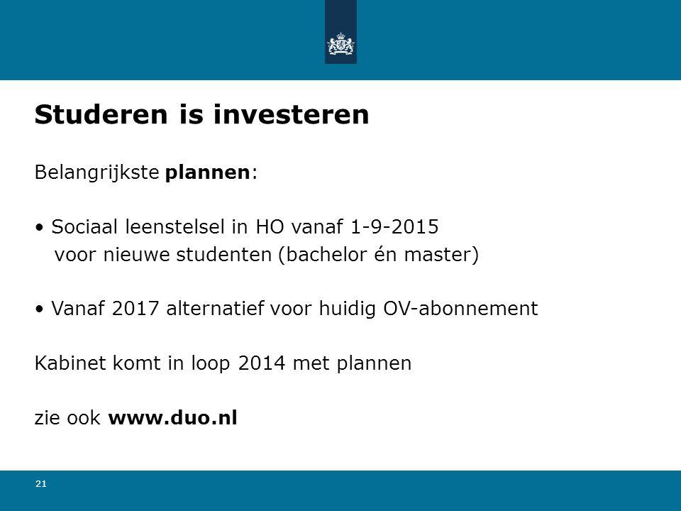 21 Studeren is investeren Belangrijkste plannen: • Sociaal leenstelsel in HO vanaf 1-9-2015 voor nieuwe studenten (bachelor én master) • Vanaf 2017 al