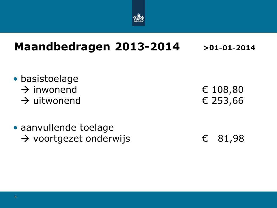4 Maandbedragen 2013-2014 >01-01-2014 •basistoelage  inwonend€ 108,80  uitwonend€ 253,66 •aanvullende toelage  voortgezet onderwijs€ 81,98