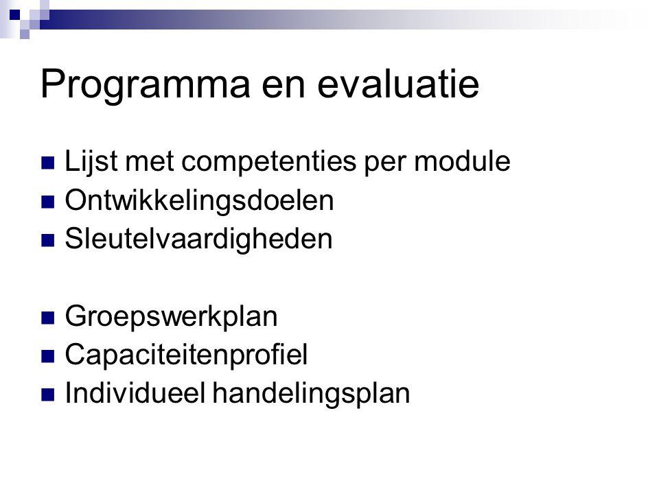Programma en evaluatie  Lijst met competenties per module  Ontwikkelingsdoelen  Sleutelvaardigheden  Groepswerkplan  Capaciteitenprofiel  Individueel handelingsplan