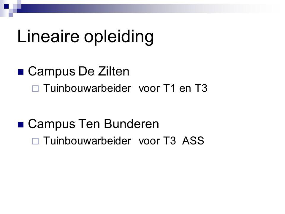 Lineaire opleiding  Campus De Zilten  Tuinbouwarbeider voor T1 en T3  Campus Ten Bunderen  Tuinbouwarbeider voor T3 ASS