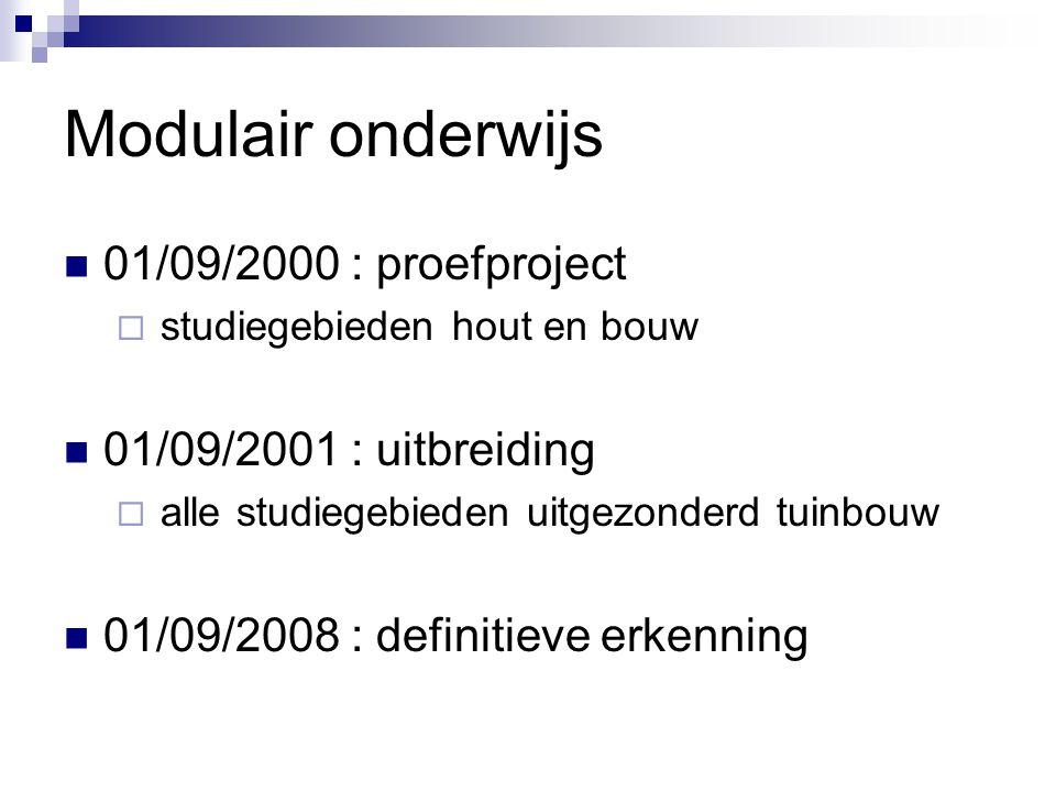 Modulair onderwijs  01/09/2000 : proefproject  studiegebieden hout en bouw  01/09/2001 : uitbreiding  alle studiegebieden uitgezonderd tuinbouw  01/09/2008 : definitieve erkenning