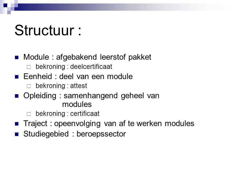 Modulaire studiegebieden :  Handel  Mechanica-elektriciteit  Hout  Bouw  Koeling en warmte  Voeding  Personenzorg