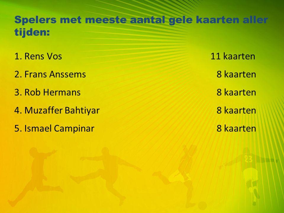 Spelers met meeste aantal gele kaarten aller tijden: 1. Rens Vos 11 kaarten 2. Frans Anssems8 kaarten 3. Rob Hermans8 kaarten 4. Muzaffer Bahtiyar8 ka